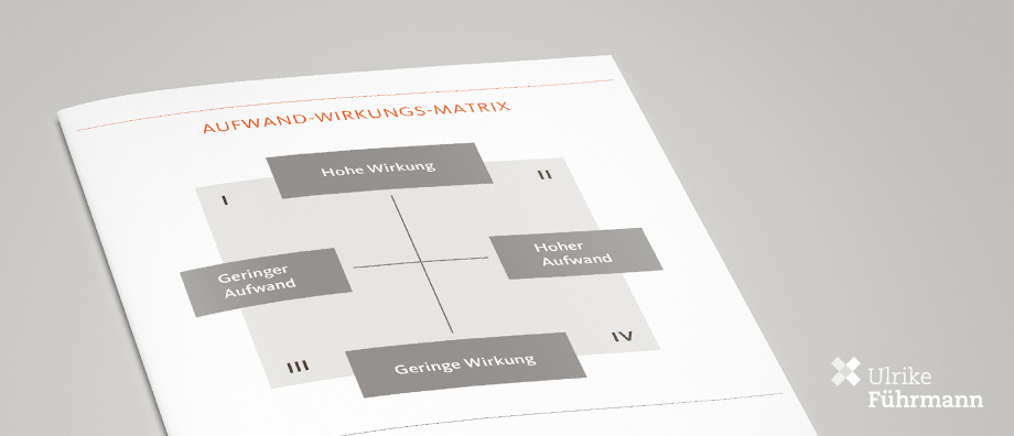 Mit Hilfe der Aufwand-Wirkungs-Matrix lässt sich die interne Kommunikation wirkungsvoll gestalten.